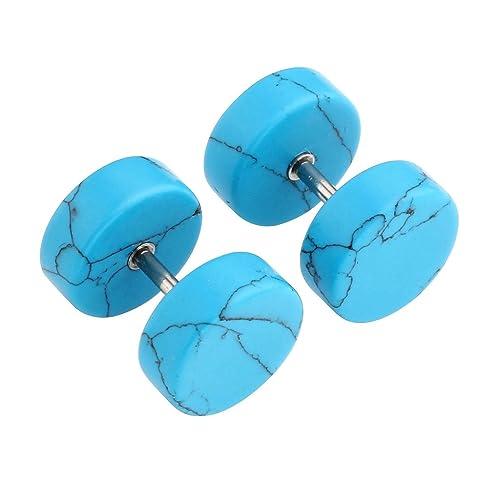 245c19282d27b JOVIVI Turquoise Fake Cheater Ear Plugs Stainless Steel Illusion Tunnel  Stud Earrings,00 Gauge Look