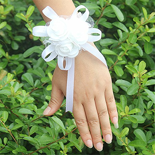 - USIX 4pc Pack-Handmade Artificial PE Flower Wrist Corsage with Soft Mesh and Satin Ribbons for Wedding Party Prom Homecoming Bride Bridesmaid Maid of Honor(White)