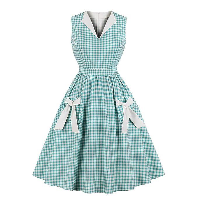 beautyjourney Vestido de Noche de Fiesta Escocesa Vintage para Mujer Vestido de Fiesta sin Mangas con Cuello en v Vestido túnica Falda Plisada Vestido ...