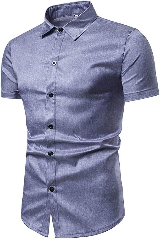 qulvyushangmaobu Camisa de Manga Corta para Hombre Casual Camisa Formal de Corte Slim Polo Camisa de Manga Corta Casual de Corte Slim con Cuello Abotonado Deportivo: Amazon.es: Ropa y accesorios