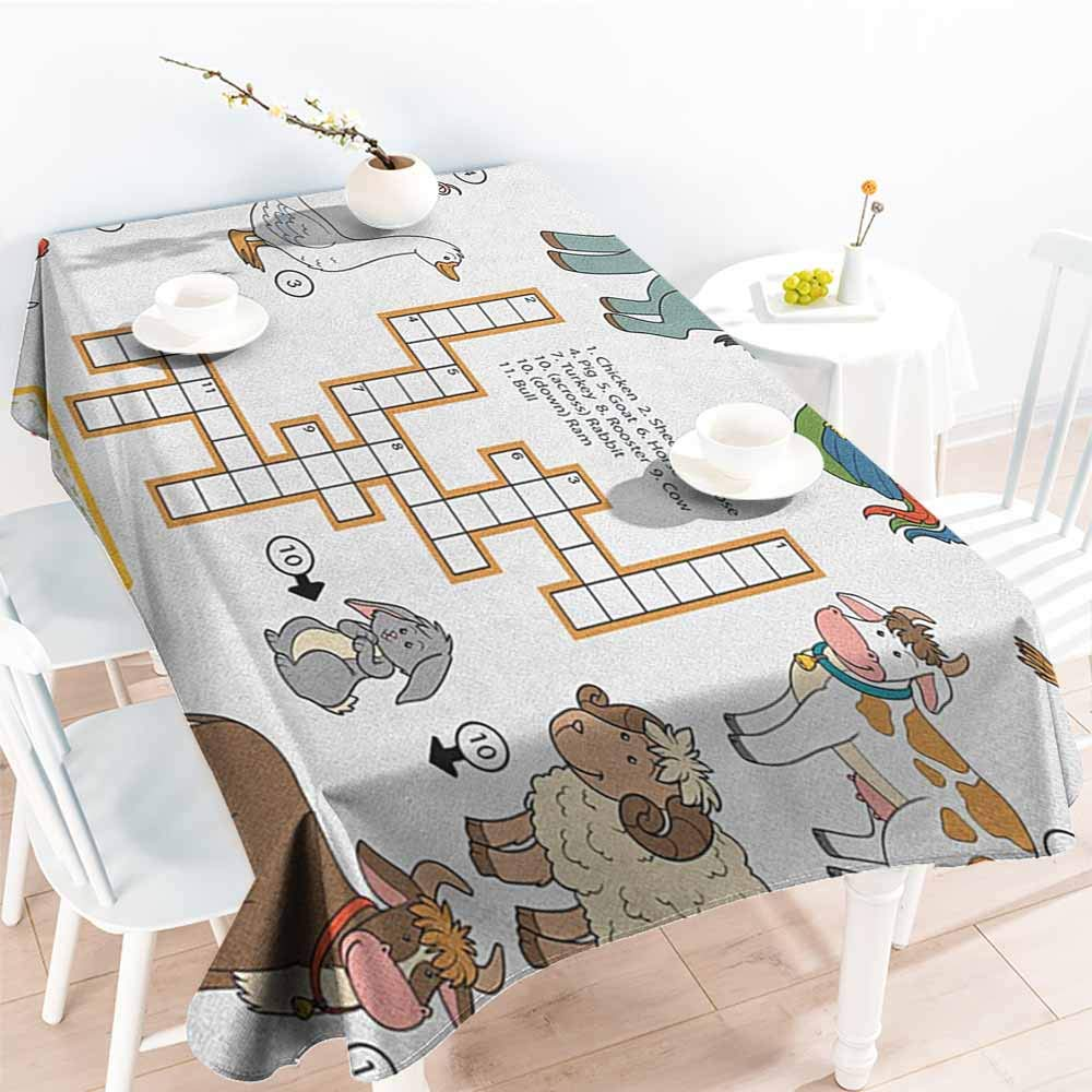 familytaste Kids Game,Fitted tablecloths Crossword Educational Puzzle for Children with Different Farm Animals and Numbers 70''x 102'' Party Tablecloth Covers