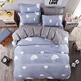 Queen Duvet Cover Set with Zipper Closure Luxury Soft Microfiber 4 Piece£¨1 Duvet Cover + 1 Bed Sheets + 2 Pillow Shams) Simple Children Cute Clouds Blue Grey - by Family Decor