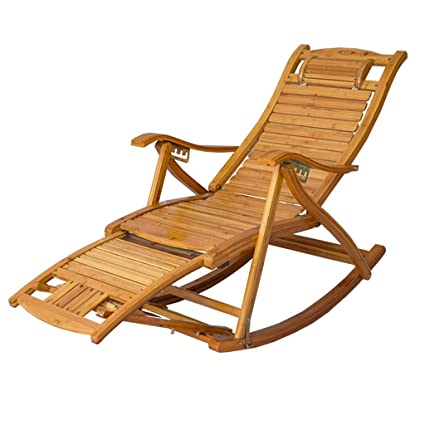 Tumbona sillón reclinable Silla Mecedora Silla de bambú ...