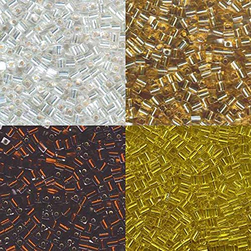 Clear Gold Silver Lined Mix Miyuki 4mm Square Cube Japanese Glass Seed Beads 80 Grams