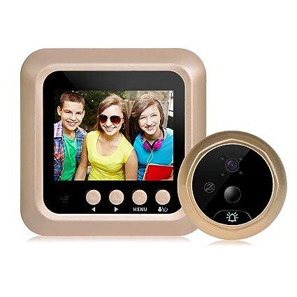 Mirilla digital de 2,4 pulgadas con detector de movimiento, para grosor de puerta