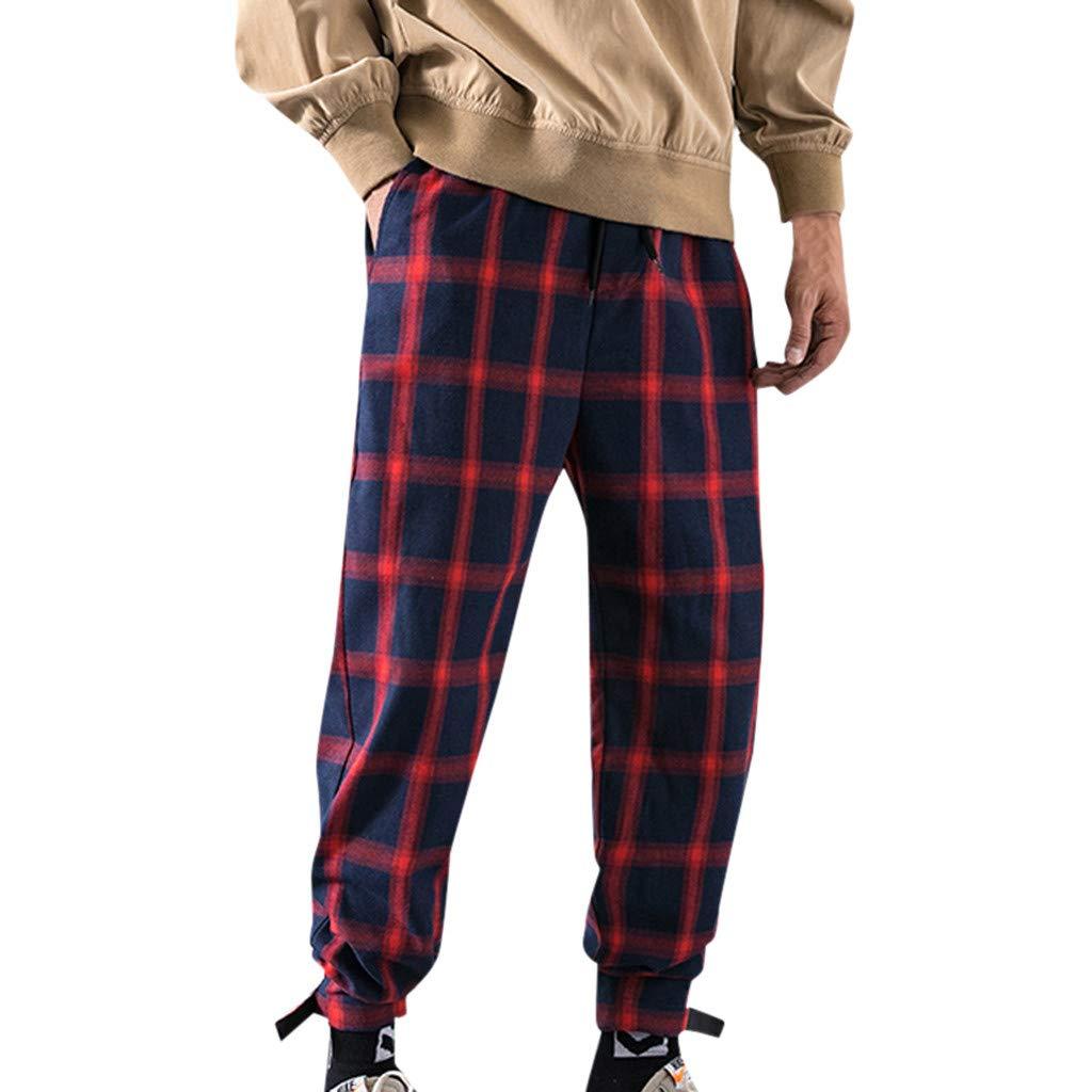 Kirbaez Mens Long Pants Casual Elastic Waist Drawstring Lattice Printing Trousers with Pockets Sports Outdoors Pants Red