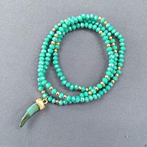 (Wrapped Style Gold Turquoise Crystal Beads Horn Stone Charm Stretch Bracelet LL-6891)