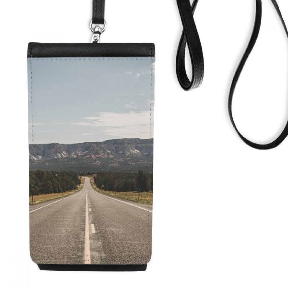 Highway Travel Sky Outdoor Forest Faux Leather Smartphone Hanging Purse Black Phone Wallet Gift