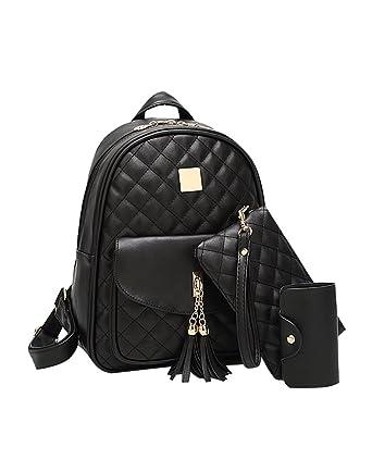 d7e9193814d1b Minetom Damen Rucksack Elegant Damen Daypack Backpacks Schultertasche  Schwarz Reiserucksack Freizeitrucksack Schulrucksack mit Brieftasche  Schwarz ...