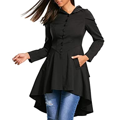Image Unavailable. Image not available for. Color  VESNIBA Women Long  Sleeve Layered Lace Up High Low Hooded Coat Bandage Outwear 4b4cc2aa6