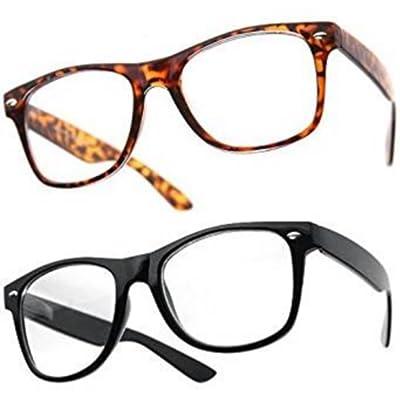 6f45f3376c ... Lunettes Monture style Wayfarer Homme Femme Mixte Geek Retro Vintage  80's - Monture Noir + Ecaille marron - Verre Neutre Transparent - Fashion  Tendance