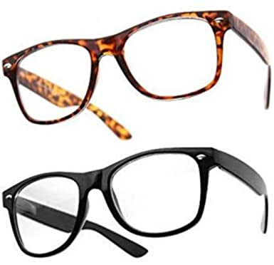 Lot de 2 Paires de lunettes de soleil style Wayfarer - Geek Retro Vintage 80's - Monture Coloris Noir + Ecaille - Fashion Tendance 2qrGT9JF