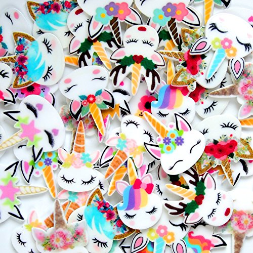 YUEAON 50 pcs mix unicorn slime charms Resin Flatback of Slime Beads supplies for Ornament Scrapbooking DIY Crafts