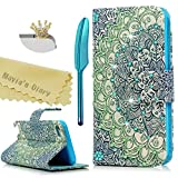 ipod 5 6 Case,ipod Touch 5th/6th Generation Case,Mavis's Diary Bling 3D Handmade Diamonds Rhinestone Gems PU Leather Magnetic Closure Flip Cover Colorful Totem Flower Pattern with Dust Plug & Stylus