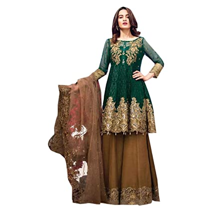 a0055b2ac7 Amazon.com: Green Stylish Pakistani Net Sharara Suit Muslim Wedding Salwar  Kameez Lawn Dress Indian Winter 7293: Home Improvement