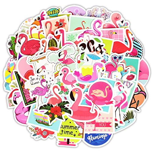 Cute VSCO Stickers Laptop Stickers Water Bottle Stickers Luggage Decal Graffiti Patches Skateboard Stickers No-Duplicate Sticker for Kids Teens Girls (50 Pcs Flamingo Style)