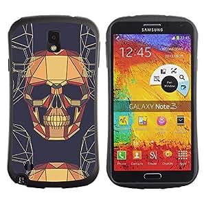 Fuerte Suave TPU GEL Caso Carcasa de Protección Funda para Samsung Note 3 N9000 N9002 N9005 / Business Style Skull Skeleton Geometrical Art Brown Drawing