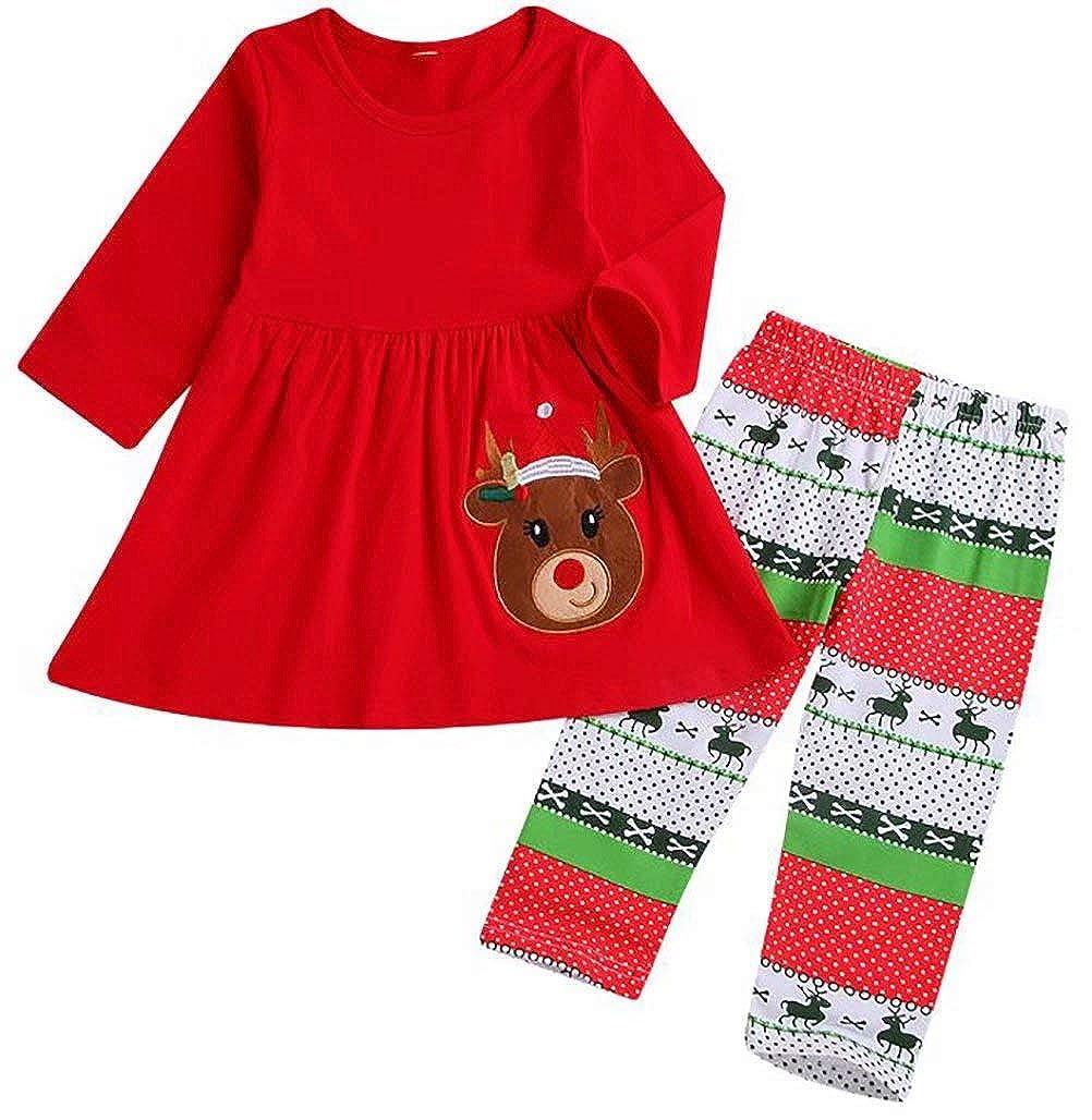 SUPEYA Toddler Baby Girls Christmas Deer Print Tops Dress+Reindeer Pants 2Pcs Sets