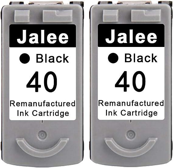 Jalee 2 Negro Cartuchos de Tinta refabricado para Usar en Lugar de Canon PG-40 Compatible para Canon PIXMA MP140 MP150 MP160 MP170 MP180 MP190 MP210 MP220 MP450 MP460 MP470 MX300 MX310 iP2500