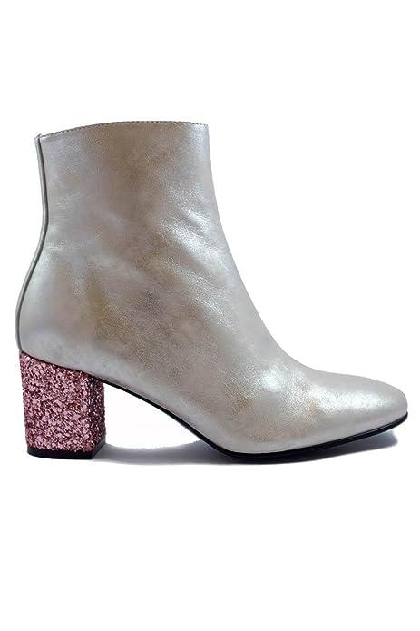 78408948e SHLEP Botines de Mujer Dama Cuero Plata c Tacon Rosa Brillante Modernos Chic  - DCE Moda  Amazon.es  Zapatos y complementos