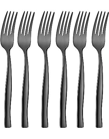 icxox Tenedores De Mesa Set De 6 Piezas, 20,7cm, Acero INOX 18