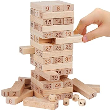 WORBAX Jenga Puzzle 51 Pcs Challenging 4pcs Dice Wooden, Maths Jenga for Adults and Kids. Make Maths Fun for Kids