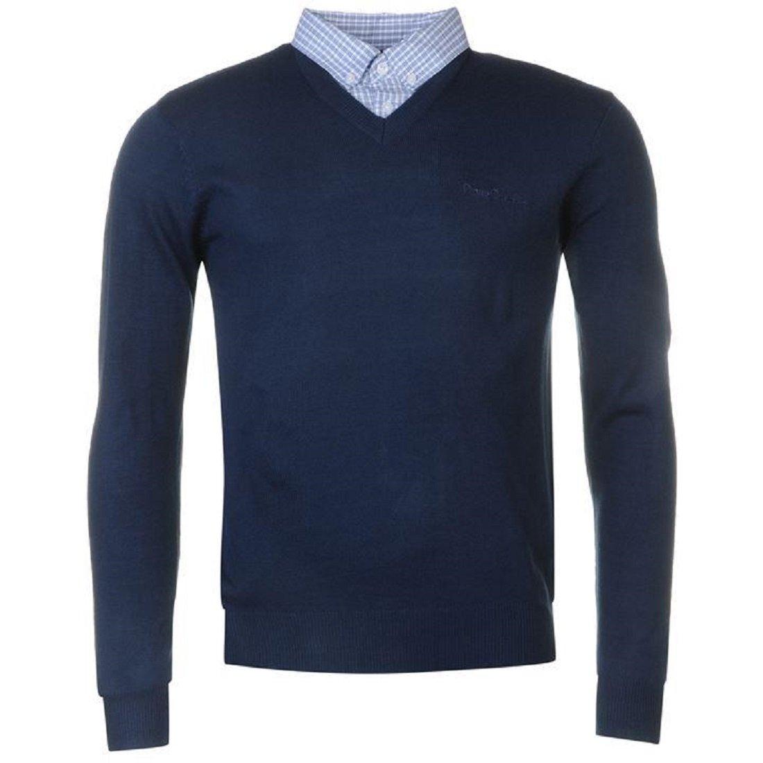 TALLA L. Pierre Cardin Jersei para Hombre de Punto con Cuello en V y Cuello de Camisa Falsa
