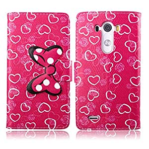 tramsla Premium PU Leather Wallet Cute Bow-knot Flip Case Cover Folio Stand for LG G3 - Case 8