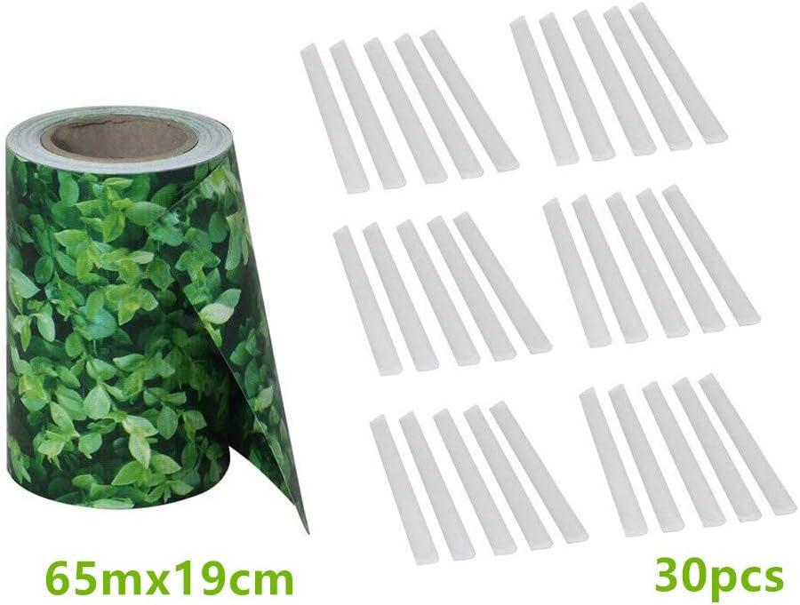 Antracite, 65mx19cm Froadp Pellicola Protettiva in PVC con Recinzione Clip di Fissaggio Doppio Recinzione da Opaca per Giardino Cortile Balcone