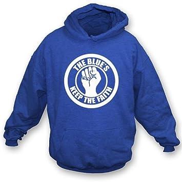 Los azules mantienen la sudadera con capucha de la fe grande, azul real del color