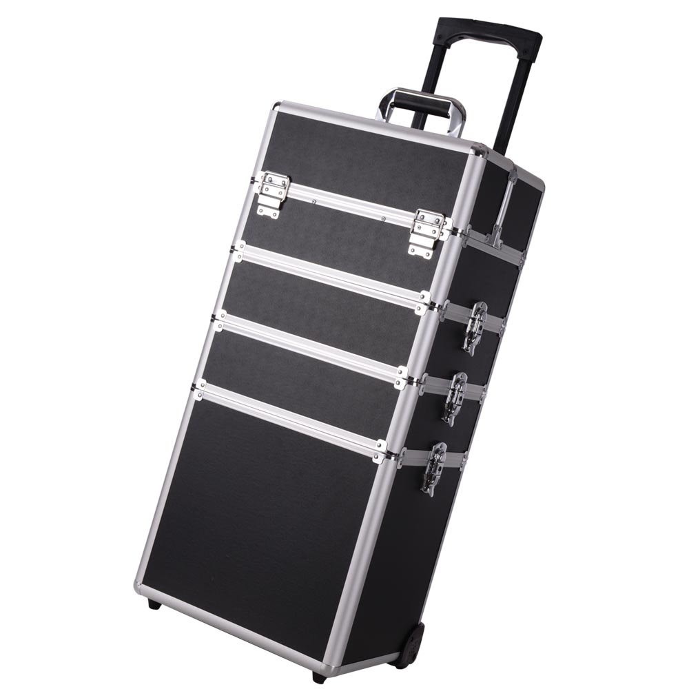 AW Black 2in1 Pro 4-Wheel 14x9x29'' Rolling Makeup Train Case w/ Key Mirror Cosmetic Salon Artist by AW