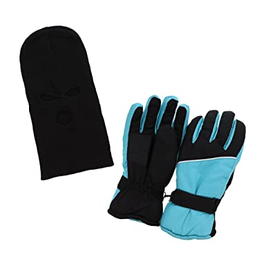 eb6a15884 Womens Ski Gloves with Black Fingers and Mask - Light Blue Black at ...
