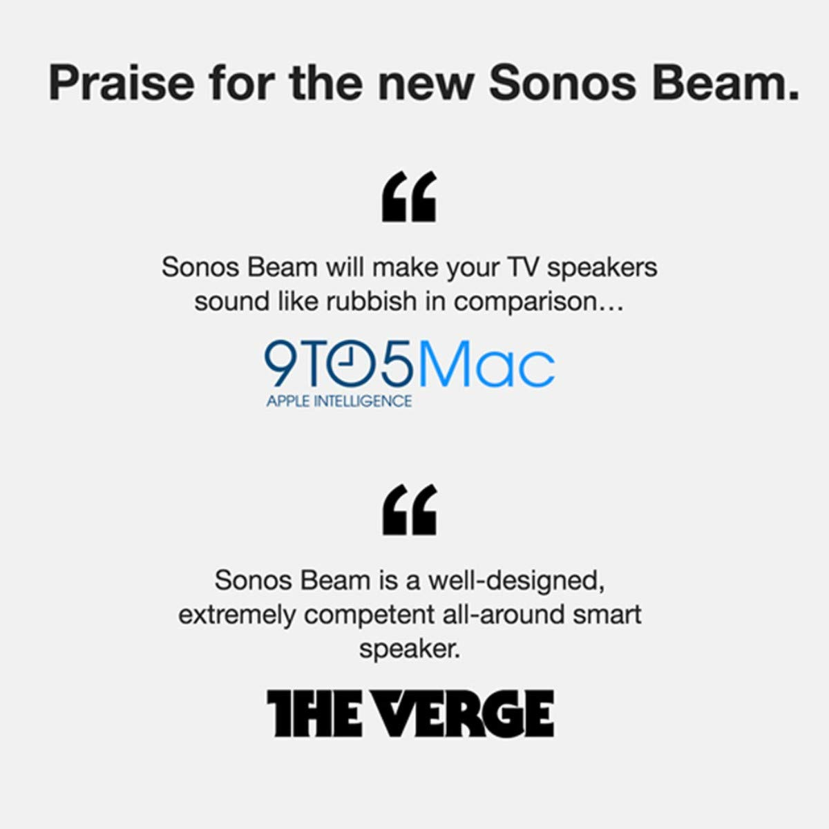 Black All-new Sonos Beam Compact Smart TV Soundbar with  Alexa voice control built-in Wireless home theater and streaming music in any room.