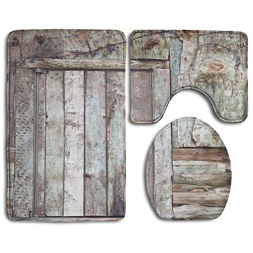 (Guiping Old Rustic Barn Door Cottage Country Cabin Theme Rural Mystic Entrance Of Home Decorative Bathroom Rug Mats Set 3 Piece,Funny Bathroom Rugs Graphic Bathroom Sets,Anti-skid Toilet Mat Set)