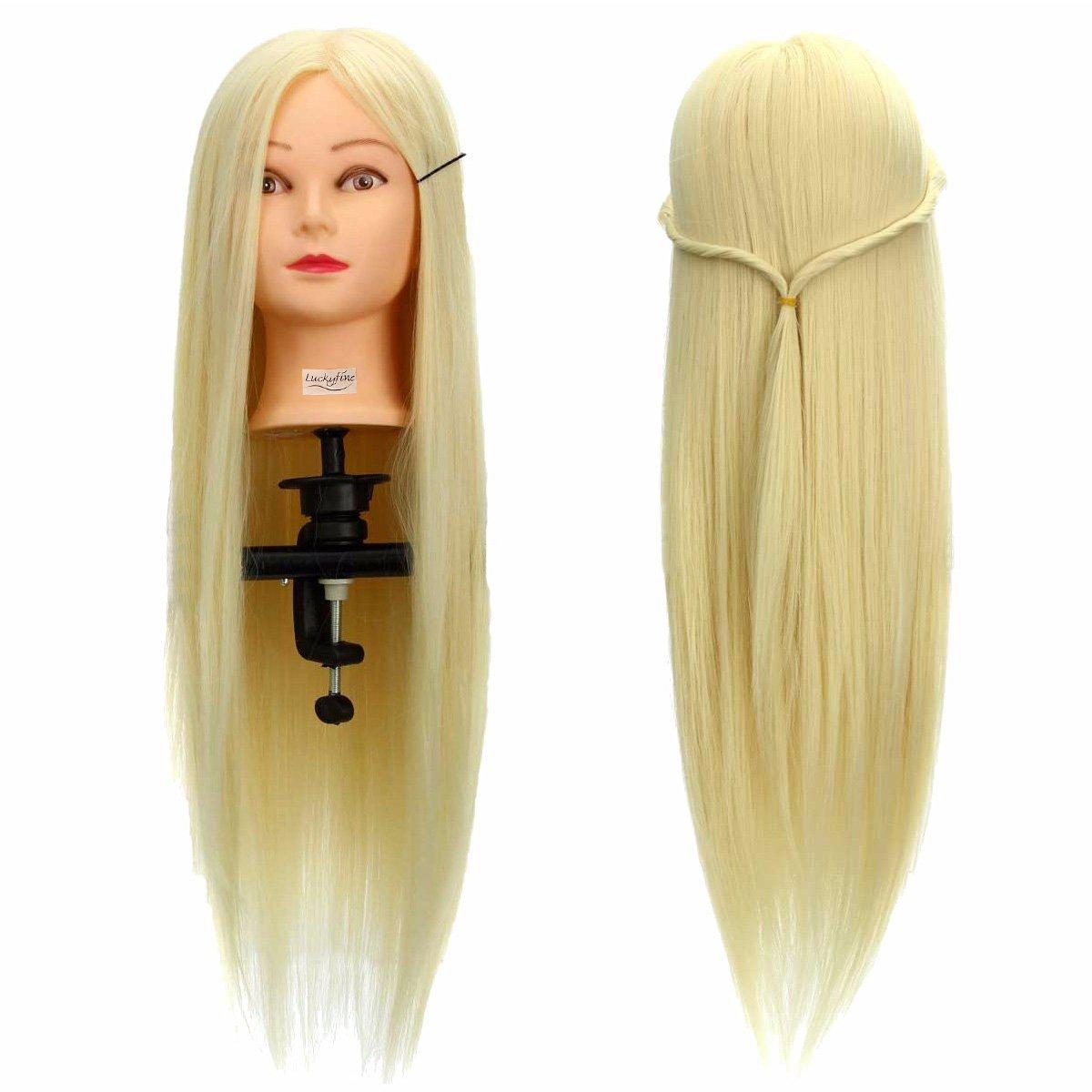 LuckyFine Professionnel 26'' Super Long 30% Cheveux Naturels Coiffure Equipement Mannequin Tête d'exercice Tête à coiffer + Support LUCKYFINEd1ncfKK3O