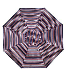 9' Wooden Umbrella With Pulley, in Americana Stripe