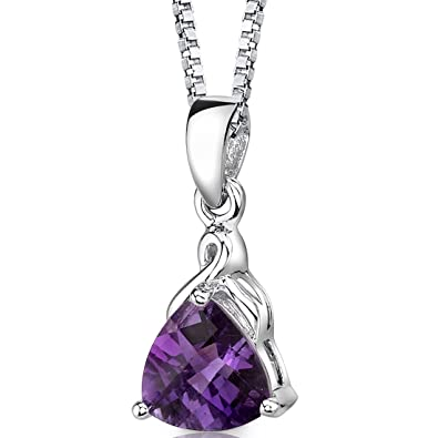 Amazon amethyst pendant necklace sterling silver trillion cut amethyst pendant necklace sterling silver trillion cut 150 carats aloadofball Gallery