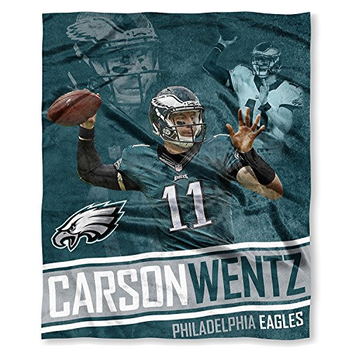 NFL Carson Wentz Philadelphia Eagles Silk Touch Throw Blanket, 50