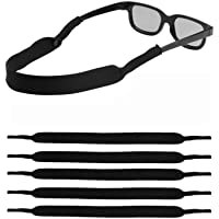 LOVAC Men/Women Sunglass Straps, Safety Eyewear Retainer, Premium Neoprene Material - Ideal for Sports & Outdoor Adventures, Fit Most Glasses,5pack (Black)