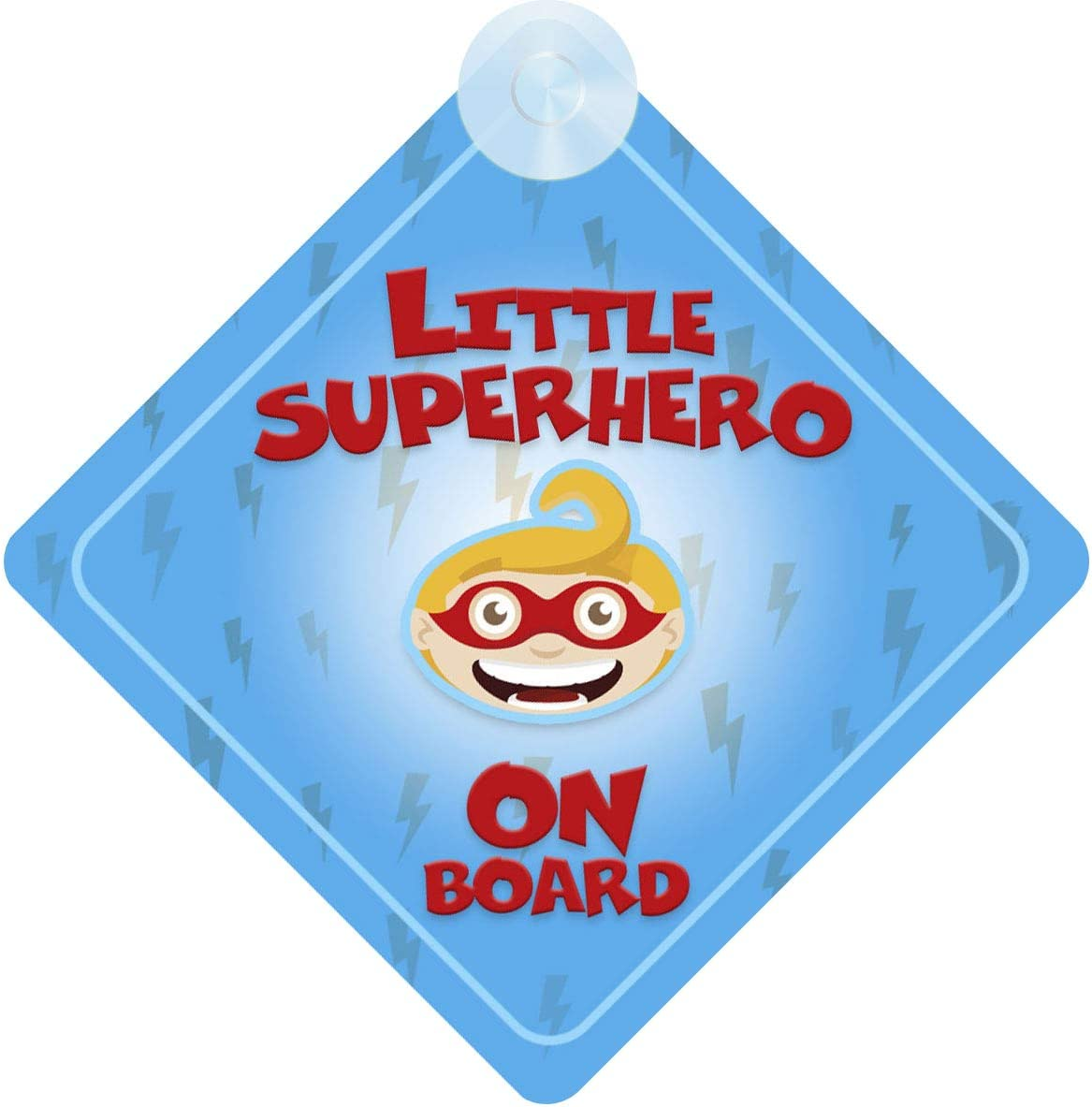 mybabyonboard UK Little Superhero Blue on Board Car Sign for Children//Baby Boys Non Personalised Character Theme