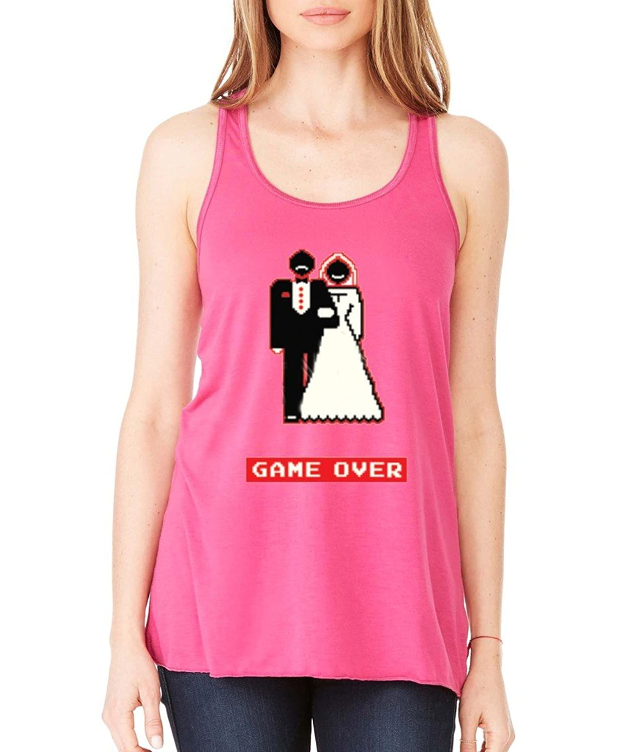 Game Over Funny Wedding Women's Flowy Under New Management Racerback Tank Berry 1043