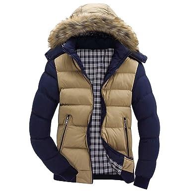 1b22288b1 BingYELH Men s Winter Snow Puffer Coats Faux Fur Hooded Thicken ...