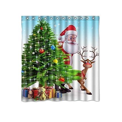Vovomay Christmas Shower Curtain Liner Hooks Snowman Waterproof Bathroom Xmas