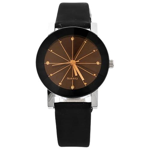 MJartoria Damen Vintage Armbanduhr Quarz Uhr Modeschmuck PU Lederarmband Mode Design Schwarz