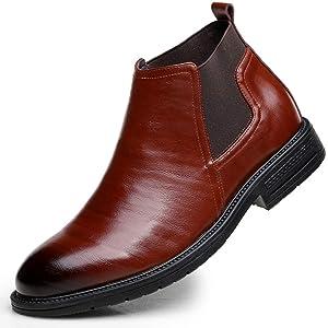 [LECMT] マーティン ブラウン ブーツ メンズ ハイカット 本革 ショートブーツ 厚底 チェルシーブーツ 走りやすい 紳士靴 サイドゴア ブーツ スリッポン ワークブーツ 疲れにくい 晴雨兼用 メンズ 24.0cm ブーツ 革靴 通勤 仕事 ブラック
