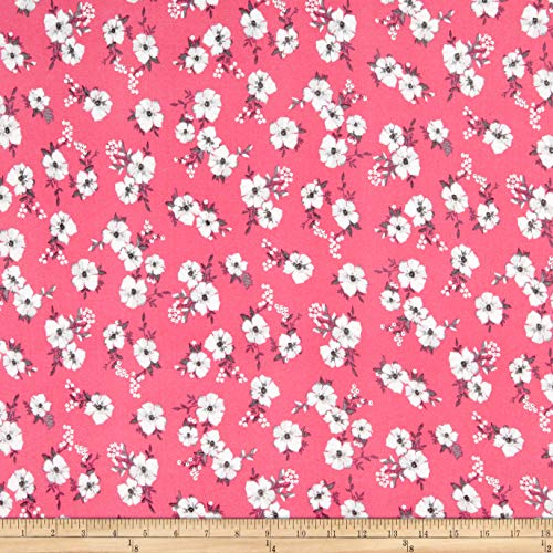 [해외]두 배 닦 았 폴 리 저지 니트 미니 꽃 핑크회색 직물에 의해 마당 / Double Brushed Poly Jersey Knit Mini Floral PinkGrey Fabric by The Yard
