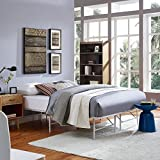 Modway Horizon Queen Bed Frame in Gray - Replaces Box Spring - Folding Portable Metal Mattress Bed Frame with Storage - Low Profile - Heavy Duty