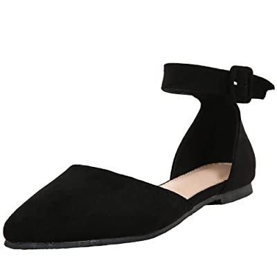 Ivay Women's Casual D'Orsay Pointed Toe Ballet Ankle Strap Buckle Comfort Flats Shoes | Flats