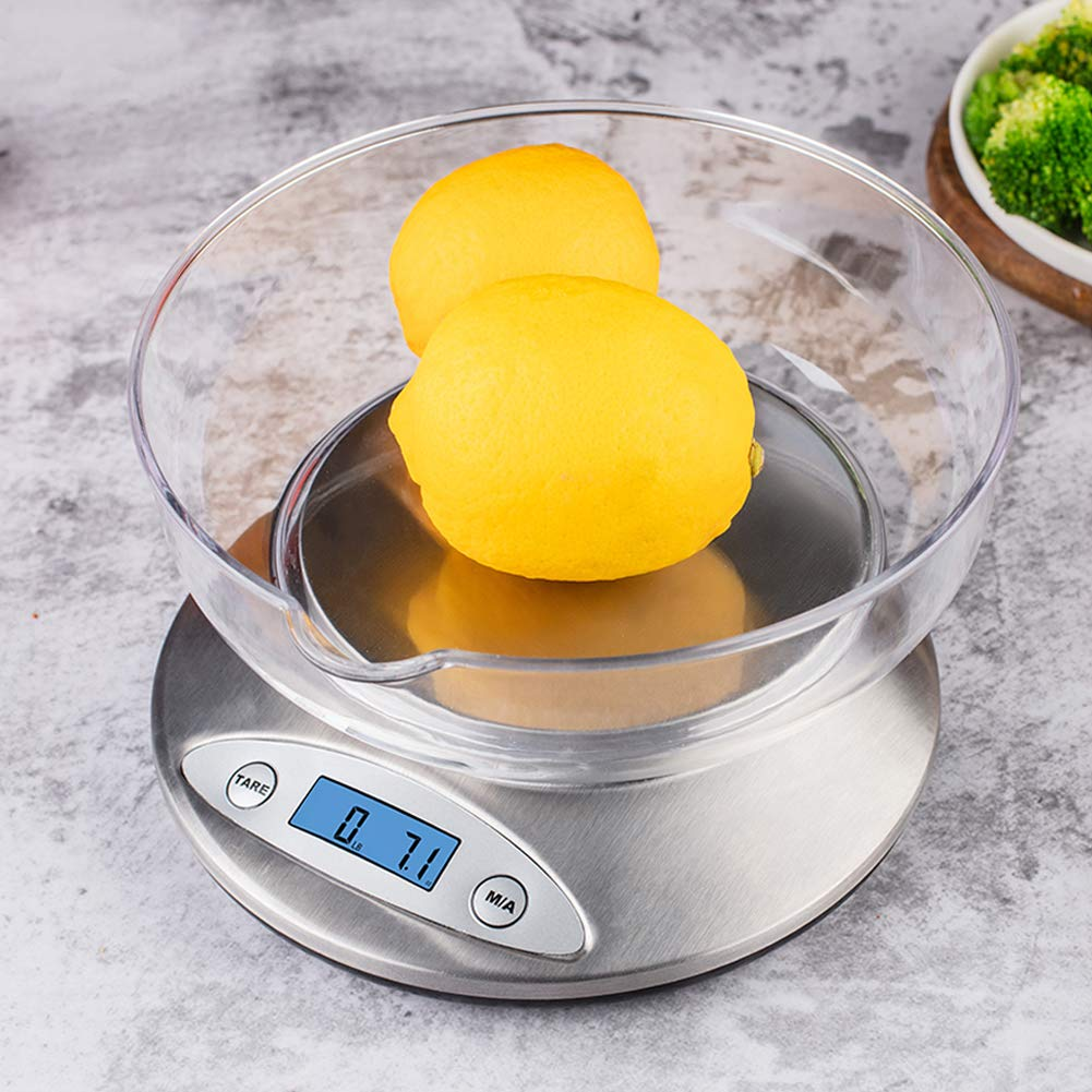 Digital Kitchen Scale with Removable Bowl, Multifunction Electronic Food Scale for Cooking Baking, LCD Display, 0.1oz/ 1g 5000g