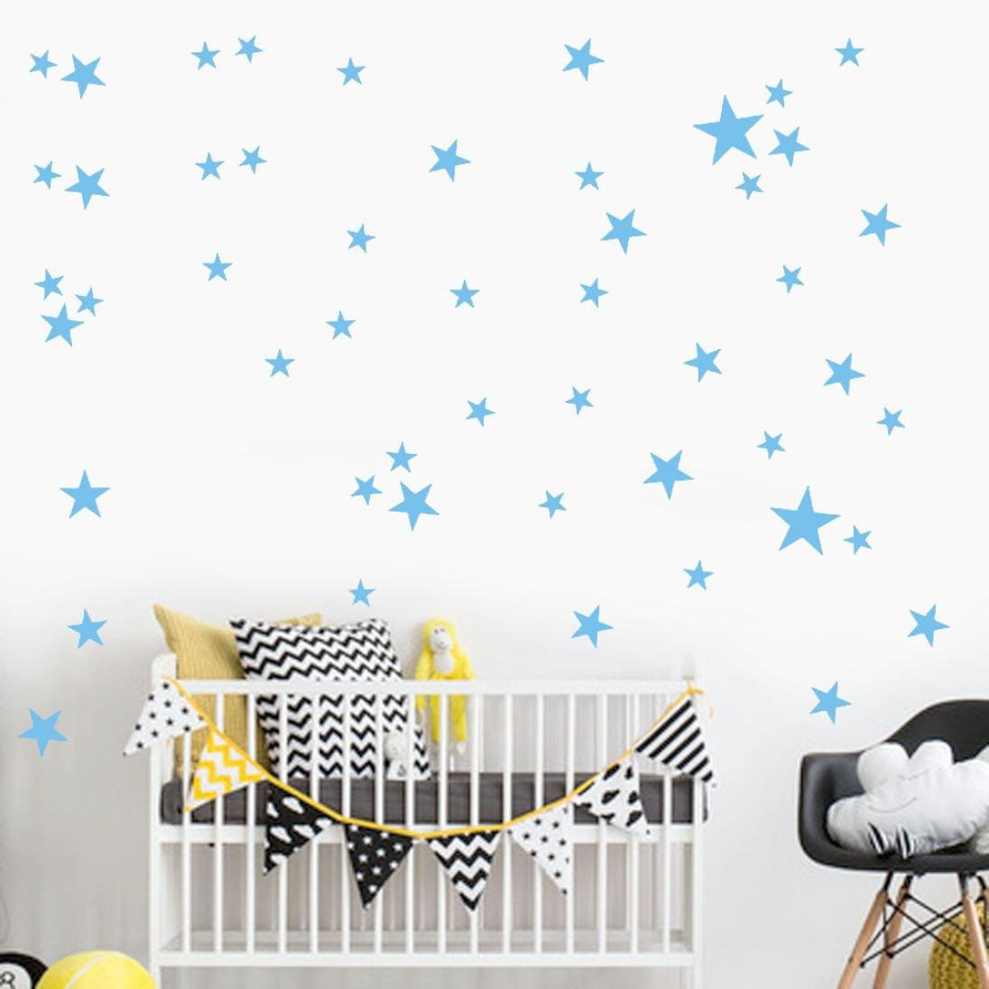 Star Wall Sticker, Iuhan 38Pcs Star Removable Art Vinyl Mural Home Room Decor Kids Rooms Wall Stickers (light blue)